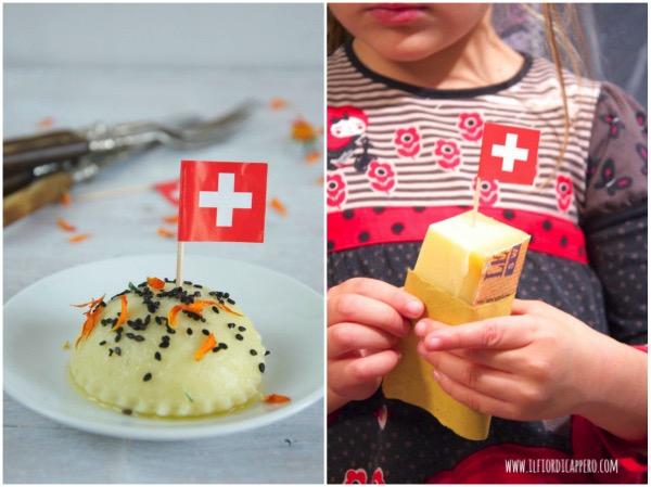 gnocchi ripieni con radicchio e formaggio e pezzo di formaggio gruyere