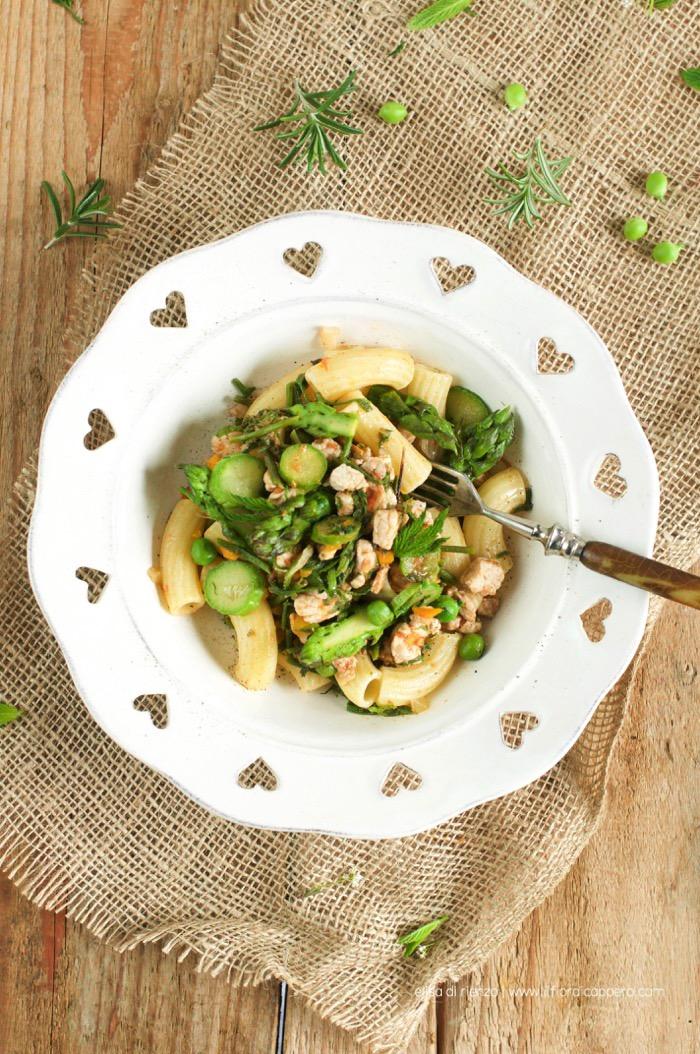 pasta con carni al coltello e verdure