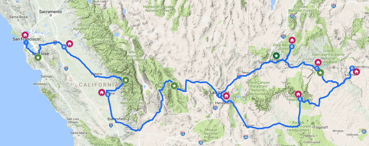 itinerario parchi west-usa
