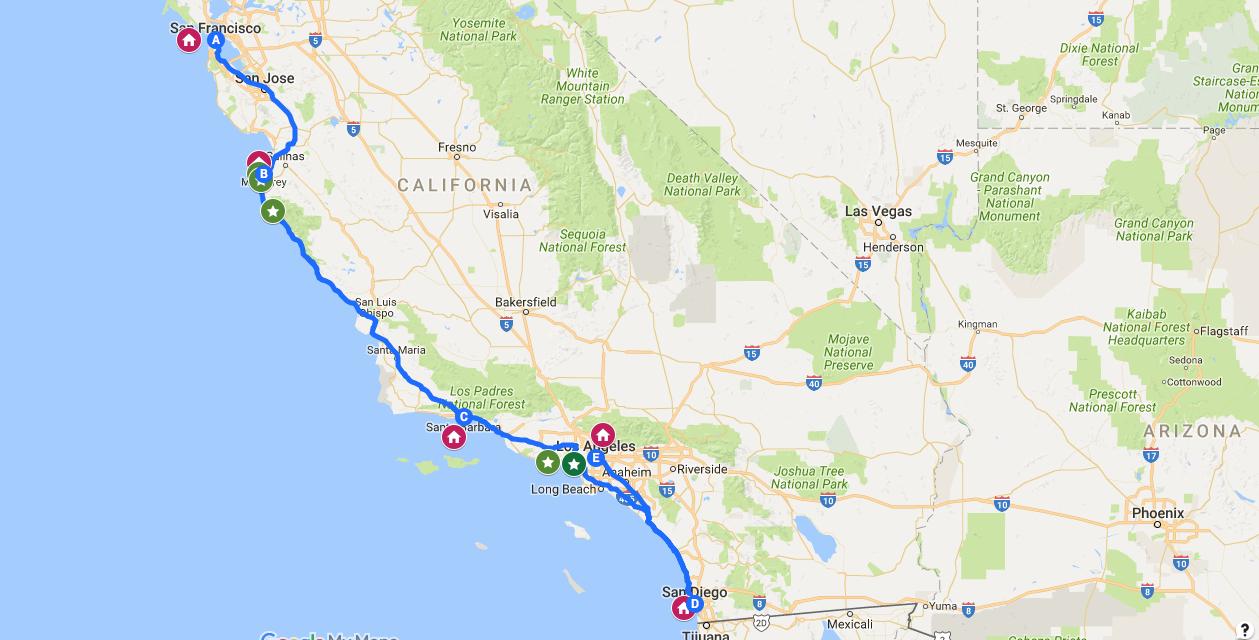 itinerario costa california