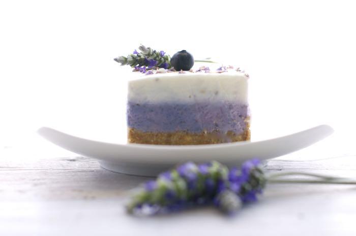 cheesecake con mirtilli e lavanda