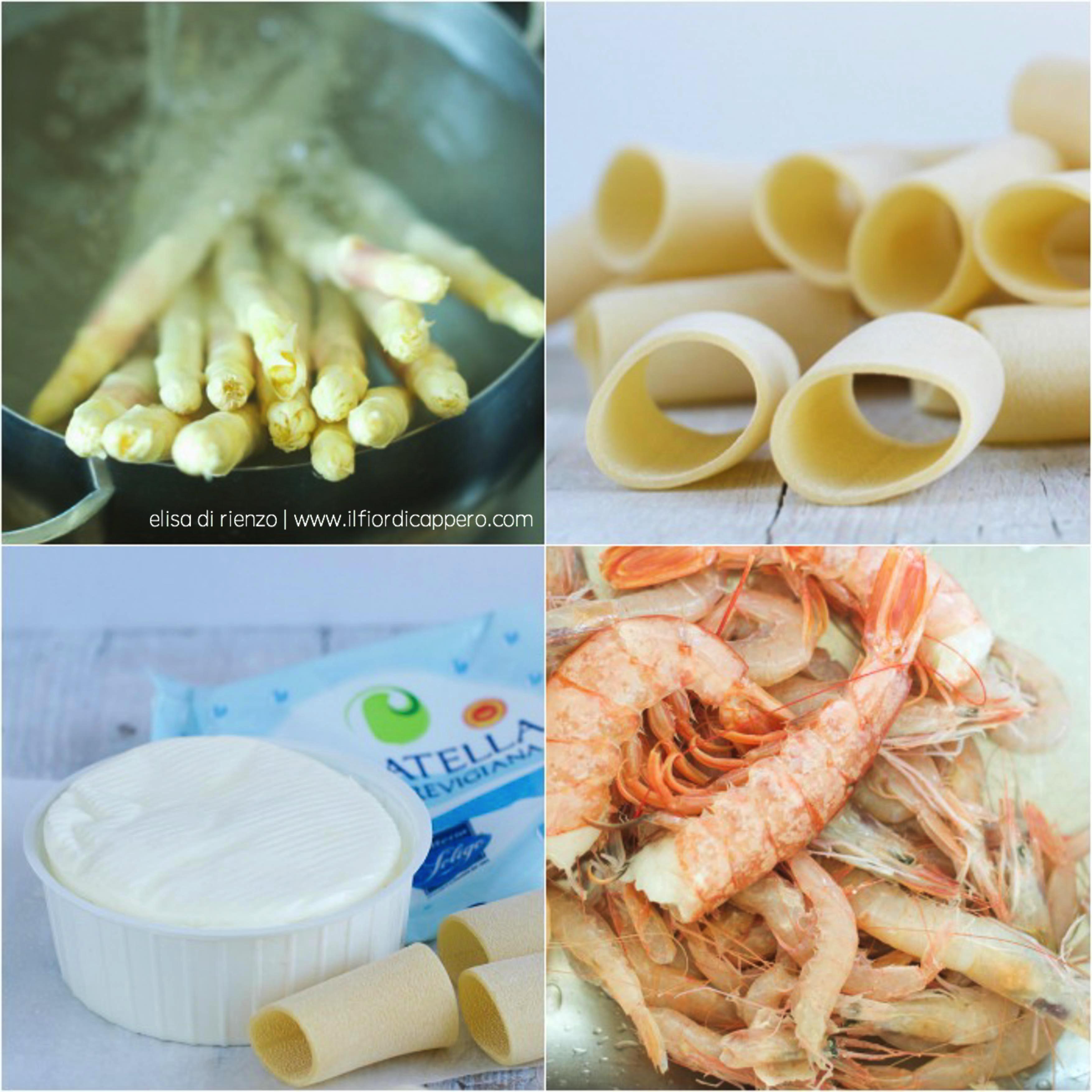 pacchetti, asparagi, casatella e gamberi