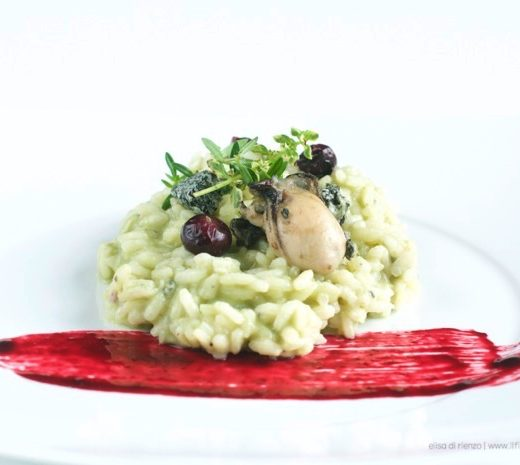ostriche avocado risotto