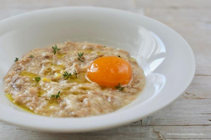 panada con uovo marinato
