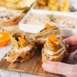 Finger food con il fiore d'inverno trevigiano: hummus di fagioli e radicchio glassato