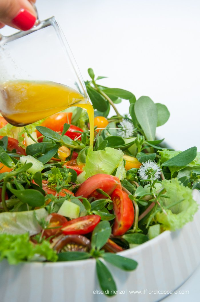 insalata di portulaca, menta, pomodorini e cetrioli